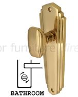 Charlston Art Deco Style Polished Brass Bathroom Door Knob Set