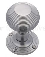 Satin Chrome Reeded Mortice Door Knob Set 55mm