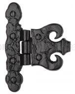 Black Antique Iron Tudor Fancy Coronet Hinge 82mm In Pairs