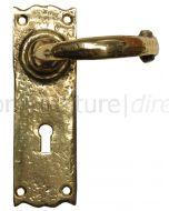 Antique Style Brass Lock Door Handles 152x47mm 2451