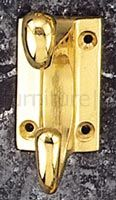 Polished Brass Rectangular Plate Hat and Coat Hook 86mm