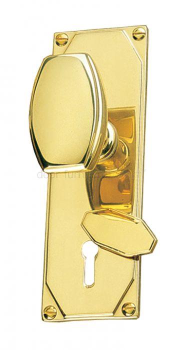 Art Deco Door Knob Escutcheon Lock Plate Door Handles