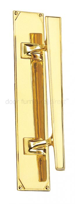 Art Deco Pull Handle On Plate Right Handed 356x63mm