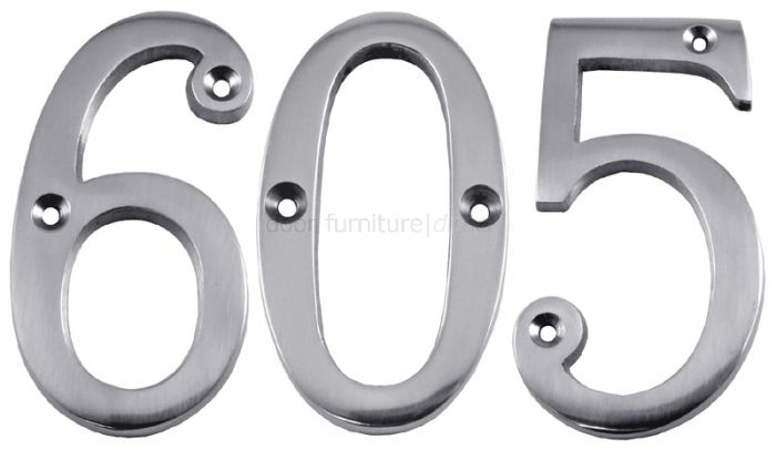 Polished Chrome Screw Fixed Door Numbers 0-9 3in (76mm)