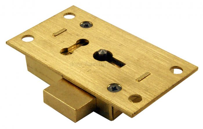 Brass Straight Cupboard Lock 2 Lever 64mm