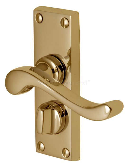 Bedford Scroll Lever Polished Brass Privacy Lock Door Handles