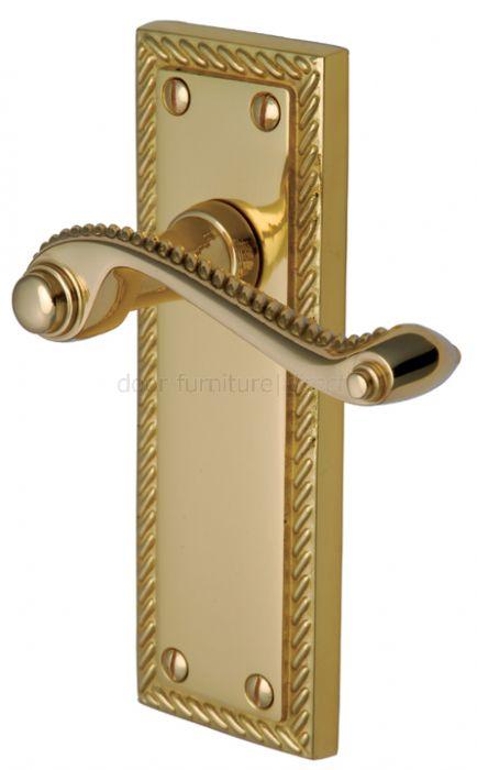Georgian Polished Brass Rope Edge Long Plate Latch Door Handles