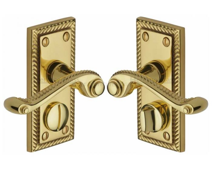Georgian Polished Brass Rope Edge Privacy Lock Door Handles