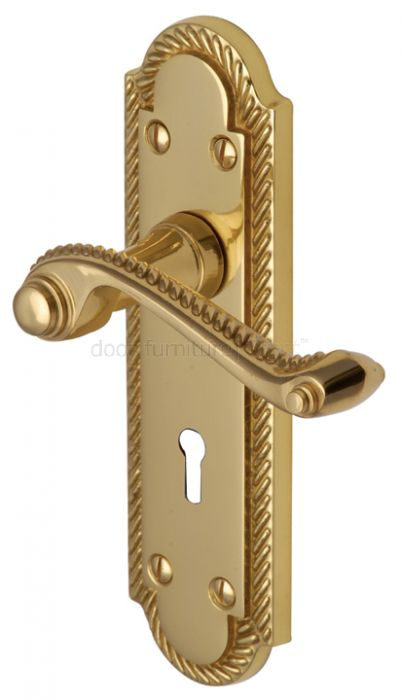 Gainsborough Polished Brass Rope Edge Keyhole Door Handles