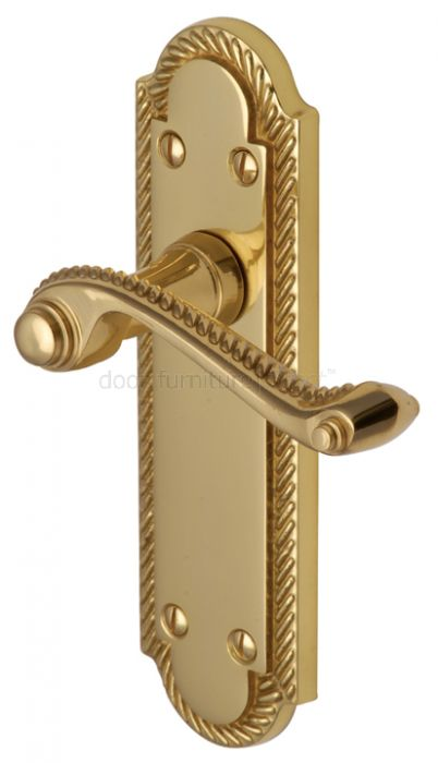 Gainsborough Polished Brass Rope Edge Latch Door Handles