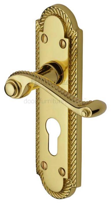 Gainsborough Polished Brass Rope Edge 48mm Euro Cylinder Door Handles