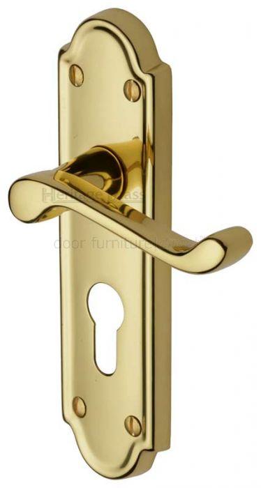 Meridian Scroll Lever Polished Brass 48mm Euro Cylinder Door Handles