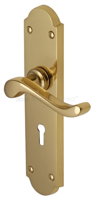 Savoy Long Scroll Lever Polished Brass Keyhole Door Handles