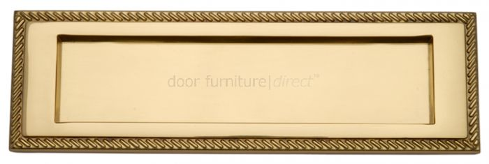Polished Brass Georgian Rope Edge Letter Box 10x3in (254x78mm)