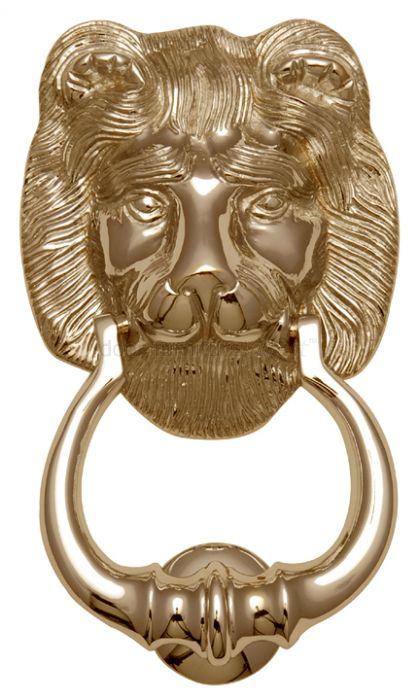 Polished Brass Lion Front Door Knocker 7in (180mm)