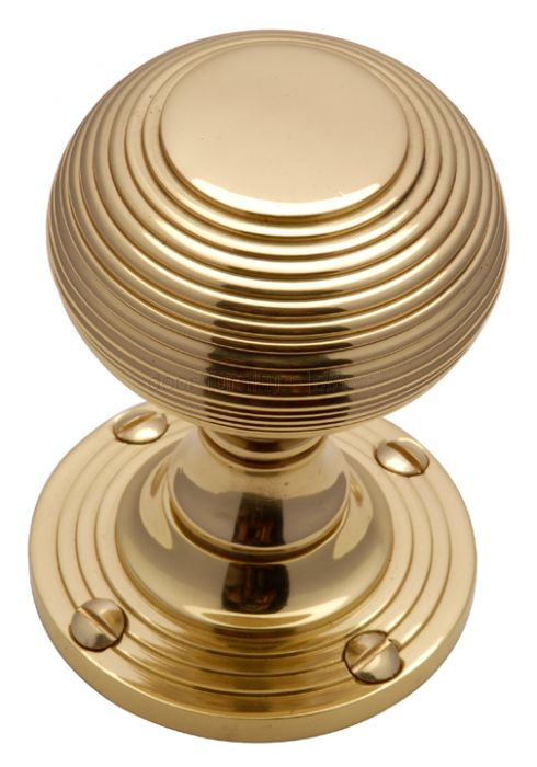Polished Brass Reeded Mortice Door Knob Set 55mm