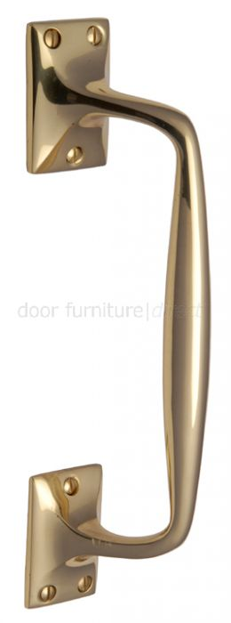Polished Brass Cranked Door Pull Handle 12in (310mm)