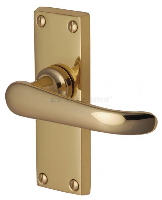 Windsor Straight Lever Polished Brass Short Plate Latch Door Handles