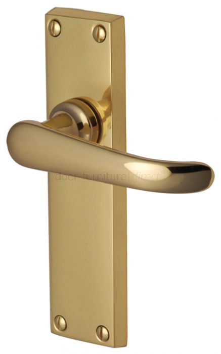 Windsor Straight Lever Polished Brass Long Plate Latch Door Handles