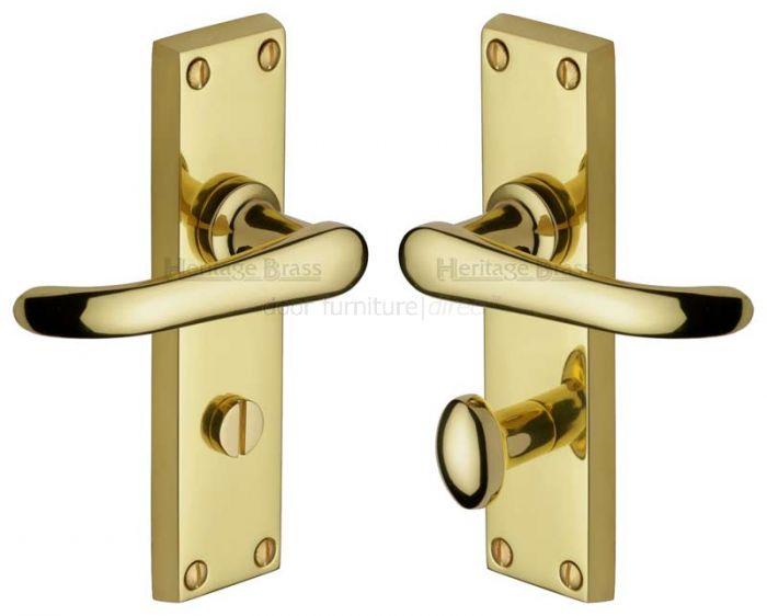 Windsor Straight Lever Polished Brass Bathroom Lock Door Handles
