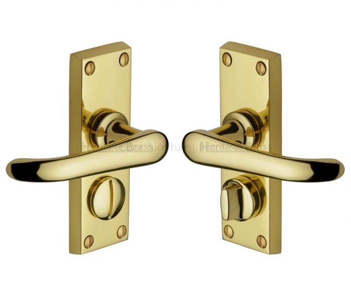 Windsor Straight Lever Polished Brass Privacy Door Handles