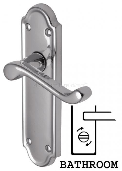 Meridian Scroll Lever Polished Chrome Bathroom Lock Door Handles