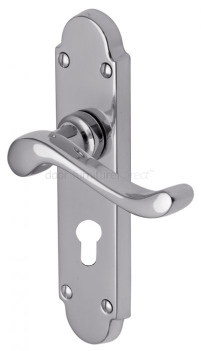 Savoy Scroll Lever Polished Chrome 48mm Euro Cylinder Door Handles