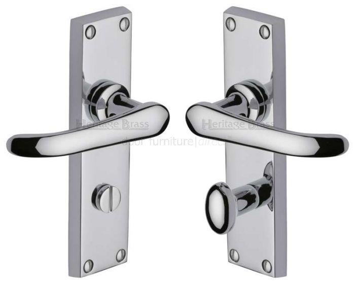 Windsor Straight Lever Polished Chrome Bathroom Door Handles