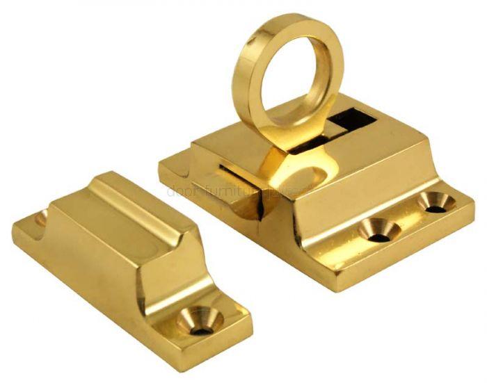 Polished Brass Ring Pull Window Fanlight Catch 55x37mm
