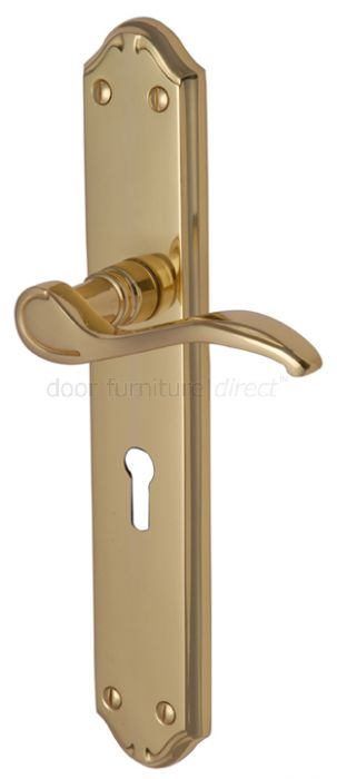 Verona Scroll Lever Polished Brass Keyhole Door Handles