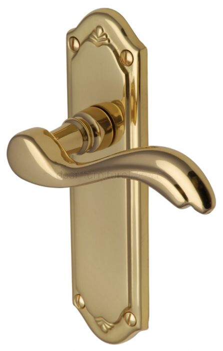 Lisboa Scroll Lever Polished Brass Latch Door Handles