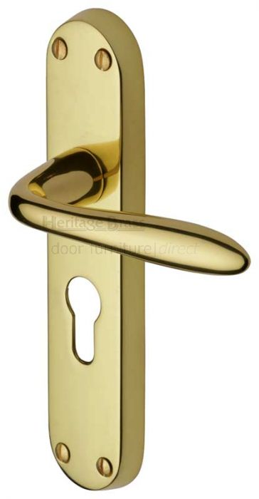 Sutton Shaped Lever Polished Brass 48mm Euro Cylinder Door Handles