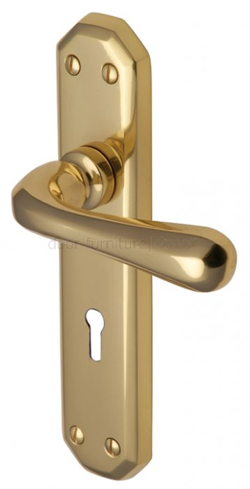 Charlbury Contoured Lever Polished Brass Keyhole Door Handles