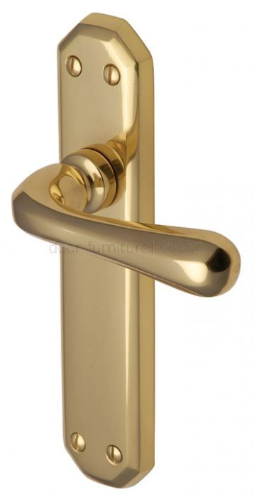 Charlbury Contoured Lever Polished Brass Latch Door Handles