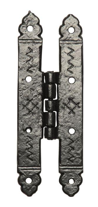Black Antique Iron Plain H Pattern Door Hinges 171mm In Pairs 619