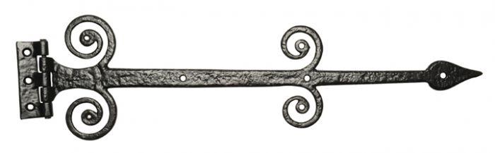 Black Antique Iron 622 Decorative Strap Hinges 419mm In Pairs