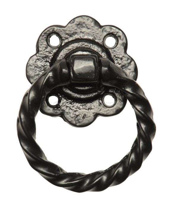 Black Antique Iron Twisted Ring Gate Handle 76mm 679