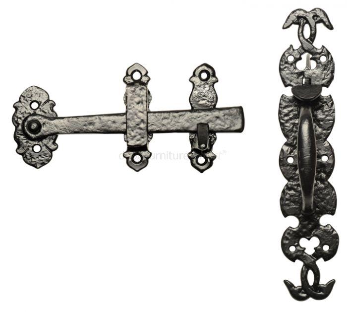 Black Antique Iron Ornate Door Thumb Latch Set 254x50mm 688