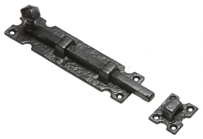 Black Antique Iron Straight Door Bolt 254mm 812
