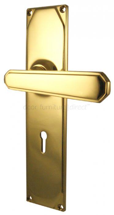 Art Deco Brass Lever On Lock Plate Door Handles