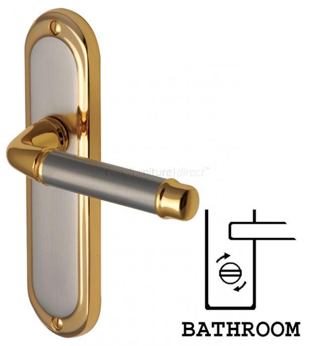 Saturn Straight Lever Dual Finish Bathroom Door Handles