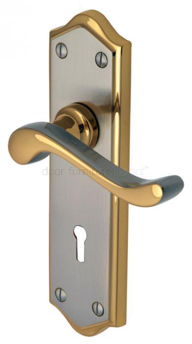 Buckingham Scroll Lever Dual Finish Keyhole Door Handles