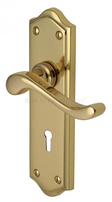 Buckingham Scroll Lever Polished Brass Keyhole Door Handles