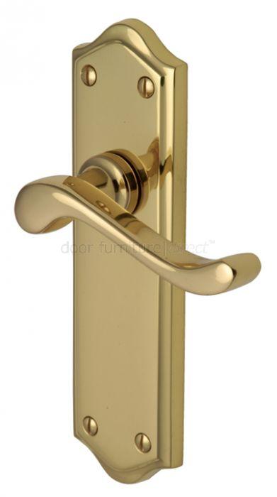 Buckingham Scroll Lever Polished Brass Latch Door Handles