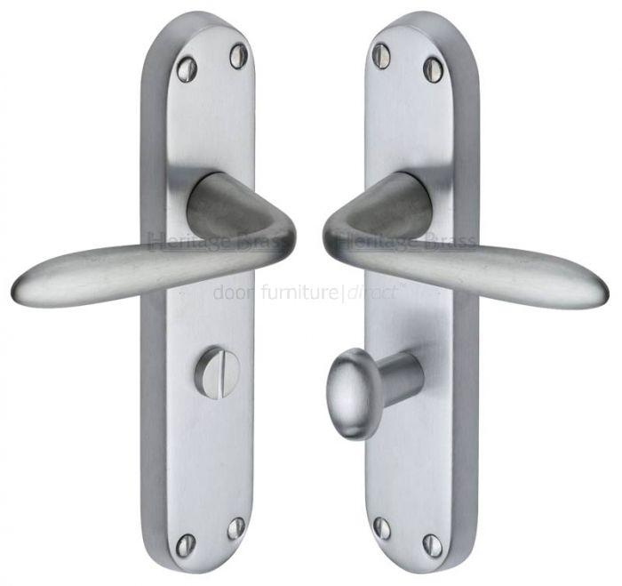 Sutton Plain Lever Satin Chrome Bathroom Door Handles