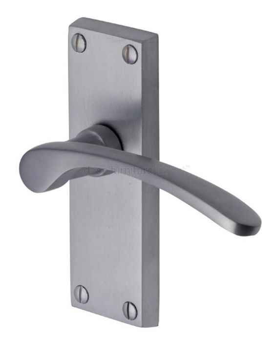 Sophia Curved Lever Satin Chrome Short Latch Door Handles