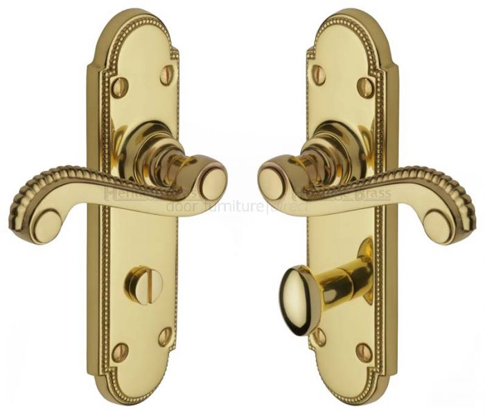 Adam Scroll Lever Polished Brass Bathroom Door Handles