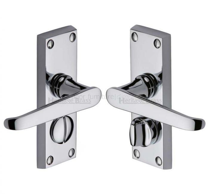 Victoria Straight Lever Polished Chrome Privacy Lock Door Handles