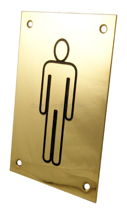 Brass Engraved Sex Indicator Plate Male 150x100mm