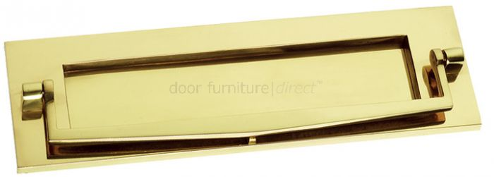 Polished Brass Plain Letter Box with Knocker 10x3in (256x76mm)
